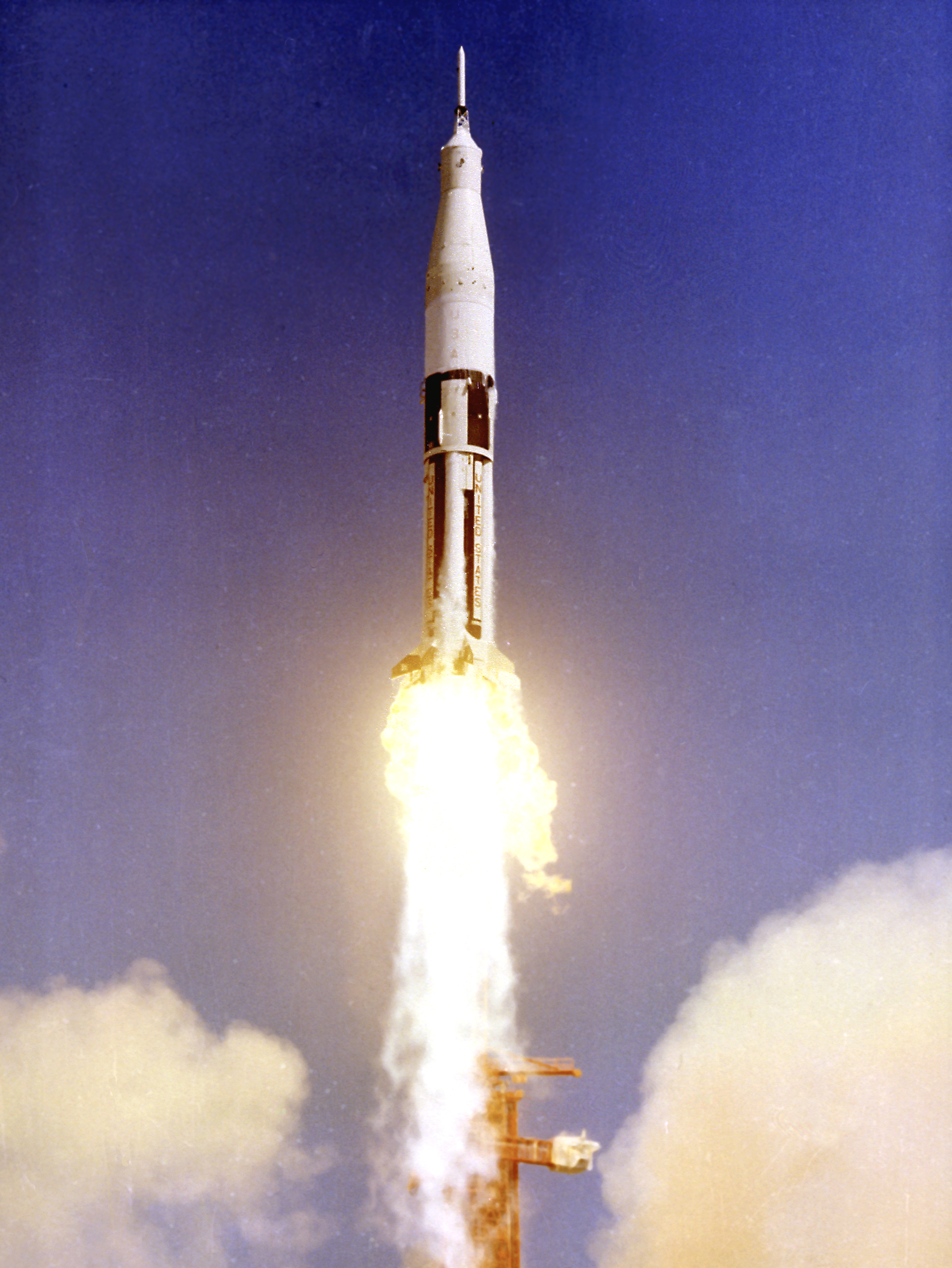 apollo-saturn 201, first of the s-IB series lifted off pad 34 at 11:12 am, feburary 26, 1966, cape REF: 36749 (MIX FILE)