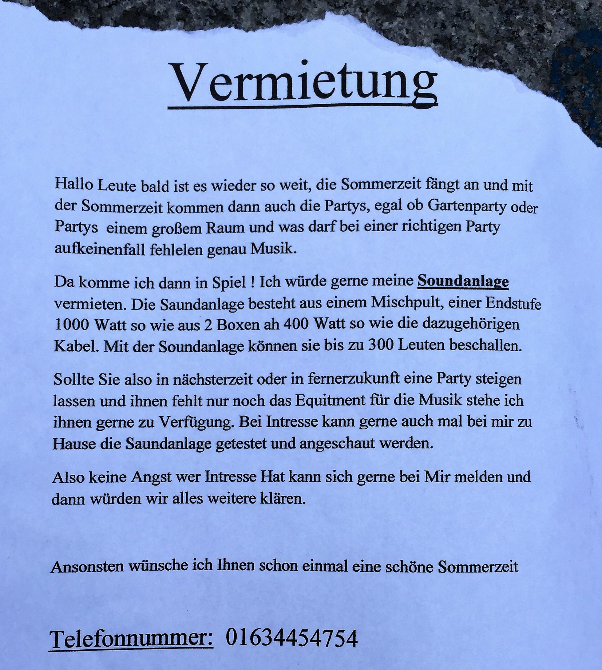 Aushang: Soundanlage In Bonn Mieten
