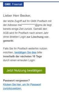 Spam? Achtung: Ihr GMX Postfach wird in Kürze gelöscht